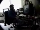 Gabe Newell playing Half-Life in his office in April of 1998, seven months before the game's release.