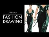 SILK VELVET RENDERING Valentino F'16  Fashion Drawing