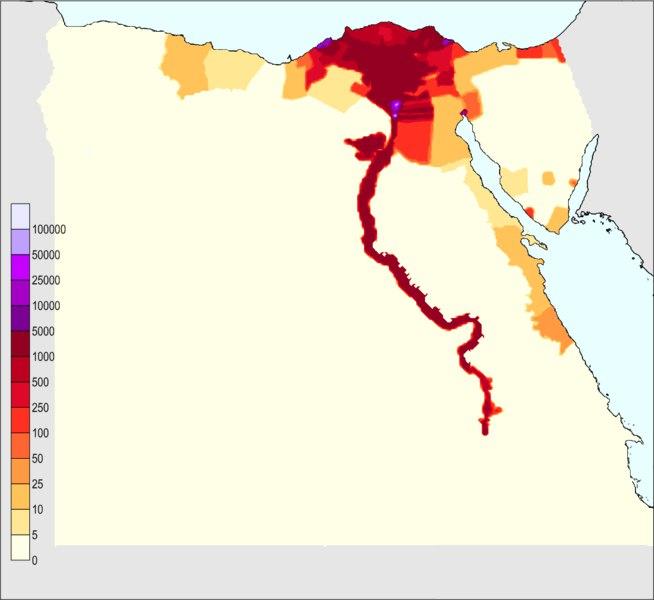 карта плотности населения Египта на 1 кв км