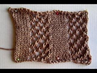 ВЯЗАНИЕ СПИЦАМИ ДЛЯ НАЧИНАЮЩИХ! АЖУРНЫЙ УЗОР №5!Knitting