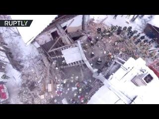 Беспилотник заснял последствия взрыва газа в Иванове