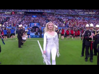 Zara Larsson performing with David Guetta at Euro 2016 Final on 10/07/16.