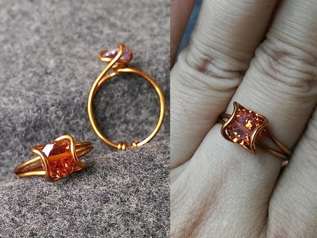 How to make easy prong ring with faceted gemstones Wire Wrapping Ideas 34