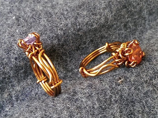 Prong ring with facet stone Wire Wrapping stones 14
