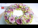 Beautiful Bouquets 2/5: Pink million buttercream flower ring wreath cake tutorial - relaxing cake