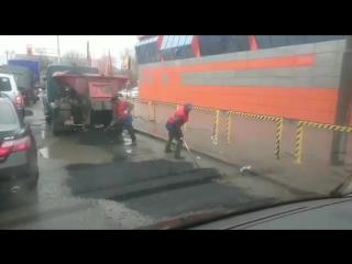Ремонт дорог в дождь.Усть-Каменогорск incident_uka