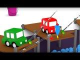 Cuatro coches coloreados - Una piscina con PESCADO de Juguete - Dibujo animado de carros