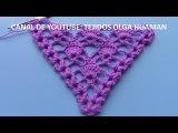 punto calado tejido a crochet para chal triangular