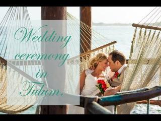 Beach wedding ceremony. Mexico, Tulum. Destination wedding videos.