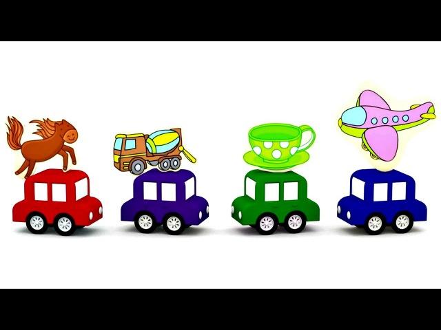 Quatrevoitures colorées 4cars 🚗🚘 Dessin animé éducatif Assembler Puzzle. Apprendre les couleurs