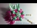 Flor con pluma en cintas tutorial - Flower with pen on ribbons tutorial -Flor com caneta