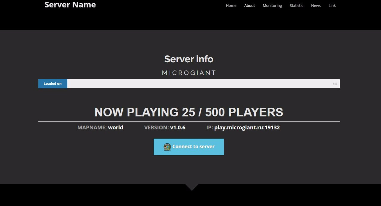 minecraft website template with server info server administration server support support. Black Bedroom Furniture Sets. Home Design Ideas