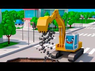 Bagger Kinderfilm deutsch - Der Gelbe Bagger und Freunde - Lernen und bauen - Cartoon für Kinder