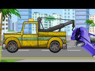 Der Gelbe Abschleppwagen und Polizeiauto - Animierter Zeichentrick in deutsch - Cartoon für Kinder