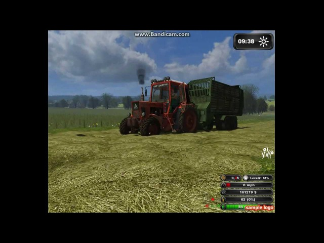 Сенокос -трактор в поле дыр-дыр-дыр