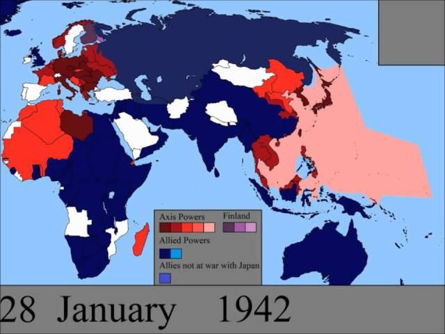 Вторая мировая война на карте мира по дням