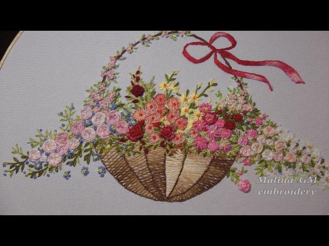 Hand Embroidery Flower stitch    Вышивка Цветочные швы