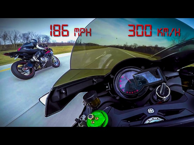 Kawasaki Ninja H2 vs BMW S1000RR - 10 minutes of PURE ADRENALINE Top Speed 200 MPH 330 KMH - 2017
