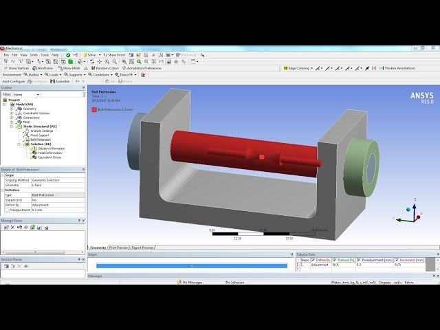 ANSYS 15 Tutorial - Frictional Contact Bolt Pretension