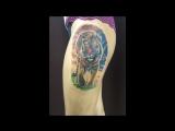 Процесс нанесения тату тигр/Студия художественной татуировки Valkiria/ г.Пермь