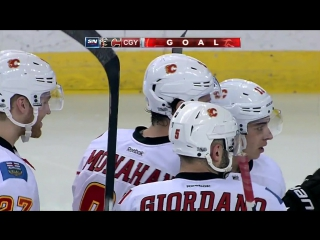 Monahan gingerly tips in 100th goal of his career