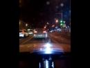 Ночной Питер вид с авто Дорога по набережной Невы