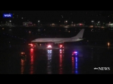 Aircraft Carrying Miami Heat Slides on Snowy Taxiway in Milwaukee