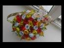 тюльпаны из лент в корзинке