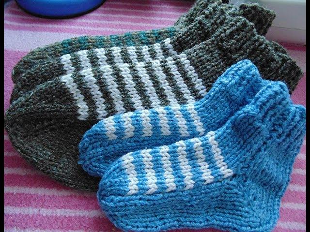 Полосатые носки на 2 спицах без сшивания