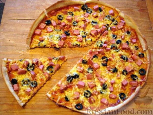 рецепт пиццы с колбасой помидорами сыром