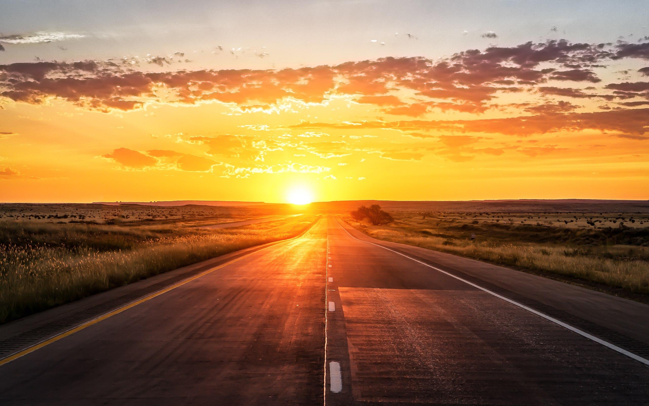 дорога закат