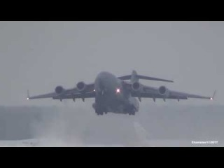 C-17 GLOBEMASTER III Takeoff from Moscow-Domodedovo International Airport 12.02.2017