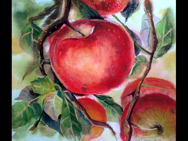 Яблоки, акварельпастель