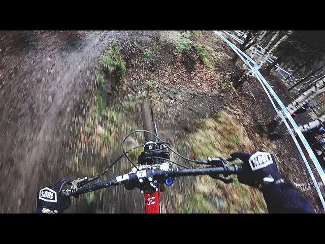 Martin Lebl muddy training - Lourdes DH World Cup 2016