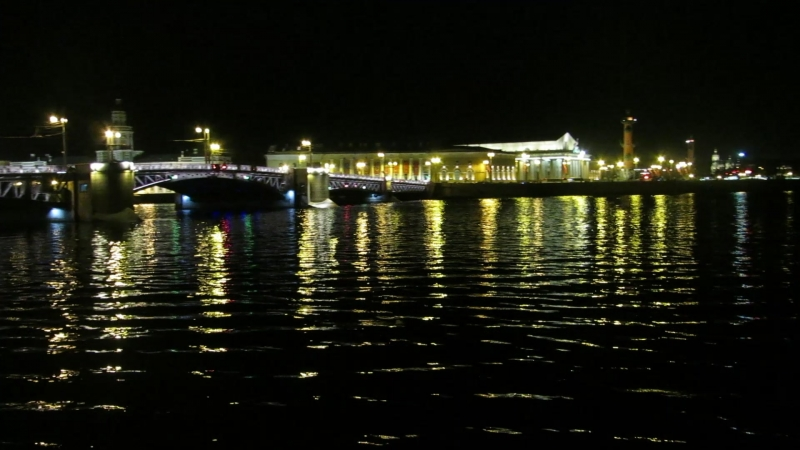 Ночная набережная. Дворцовый мост