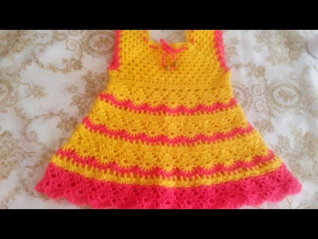 Красивое платье ВЕСНА крючком для девочки 1-2годика часть2