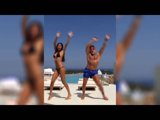 Итальянец 50-летний миллионер Джанлука Вакки(Gianluca Vacchi) танцует со своей женой