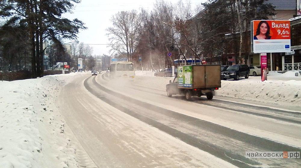 уборка дорог, Чайковский, 2017 год