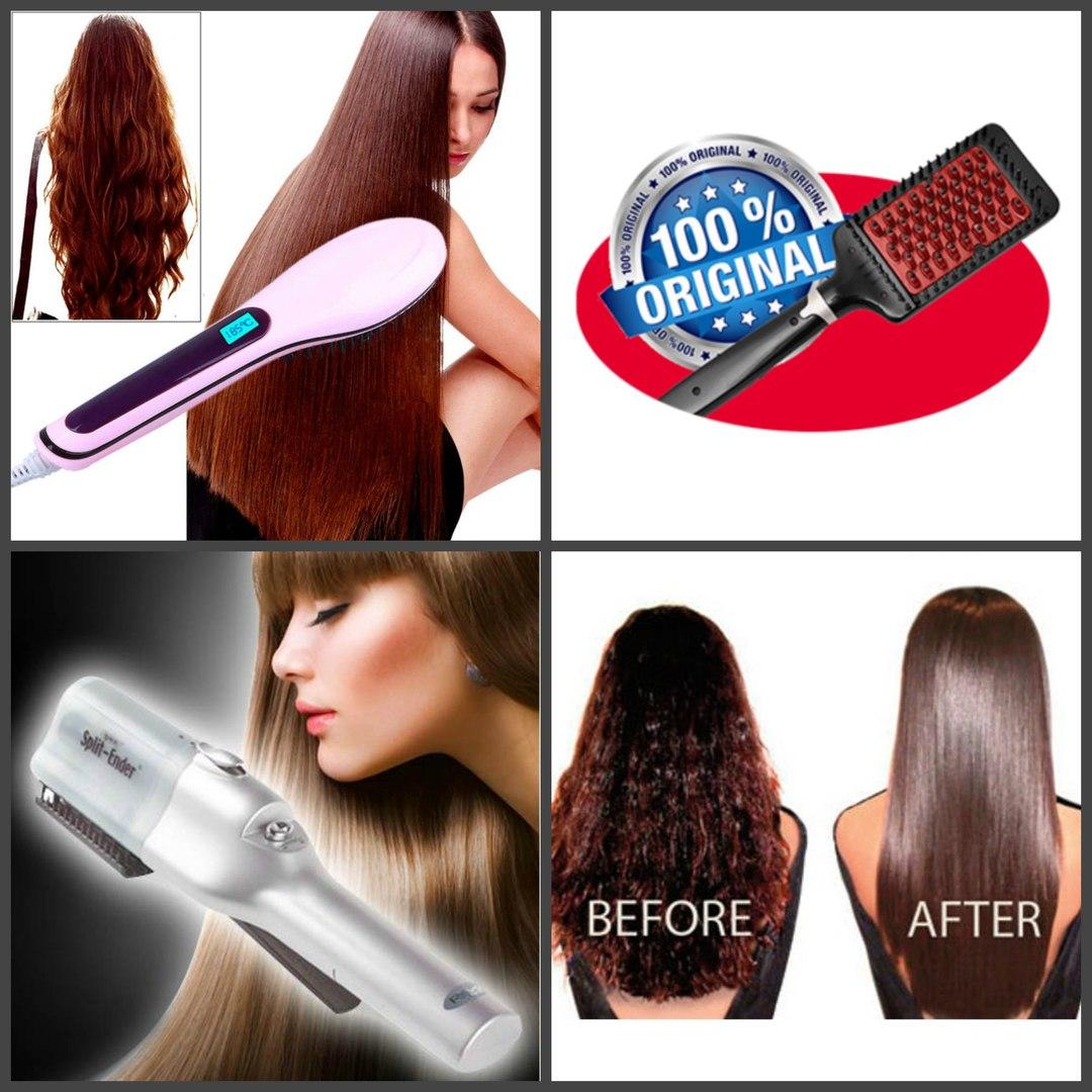 Электрические расчёски для выпрямления волос: Fast Hair Straightener, HOLLYWOOD STRAIGHTENER, SPLIT-ENDER.