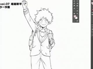Kohei Horikoshi Drawing Deku