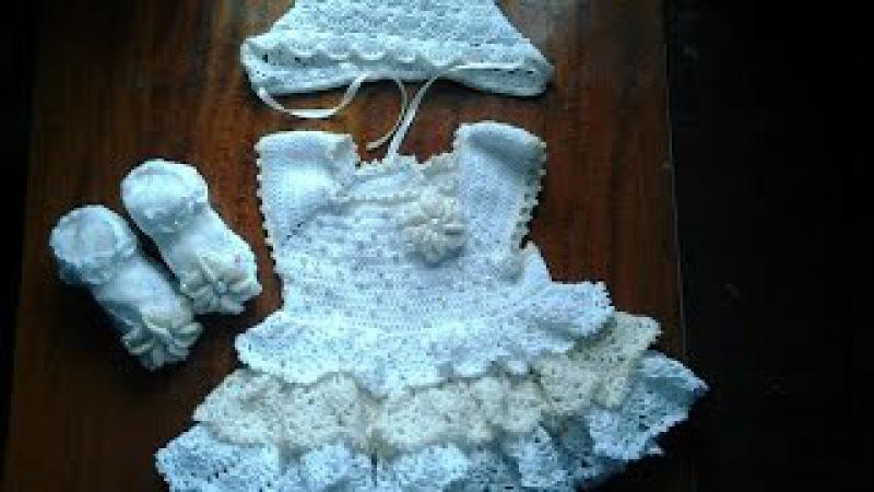 Ажурное платье с квадратной кокеткой на девочку 4-5 месяцев/ч2