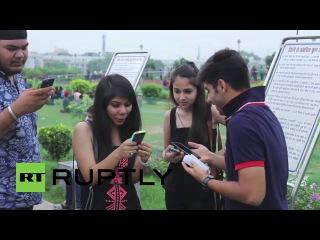 Индия: Покемон Го фанат масса в Нью-Дели парка, как игра получает освобождение Индии.
