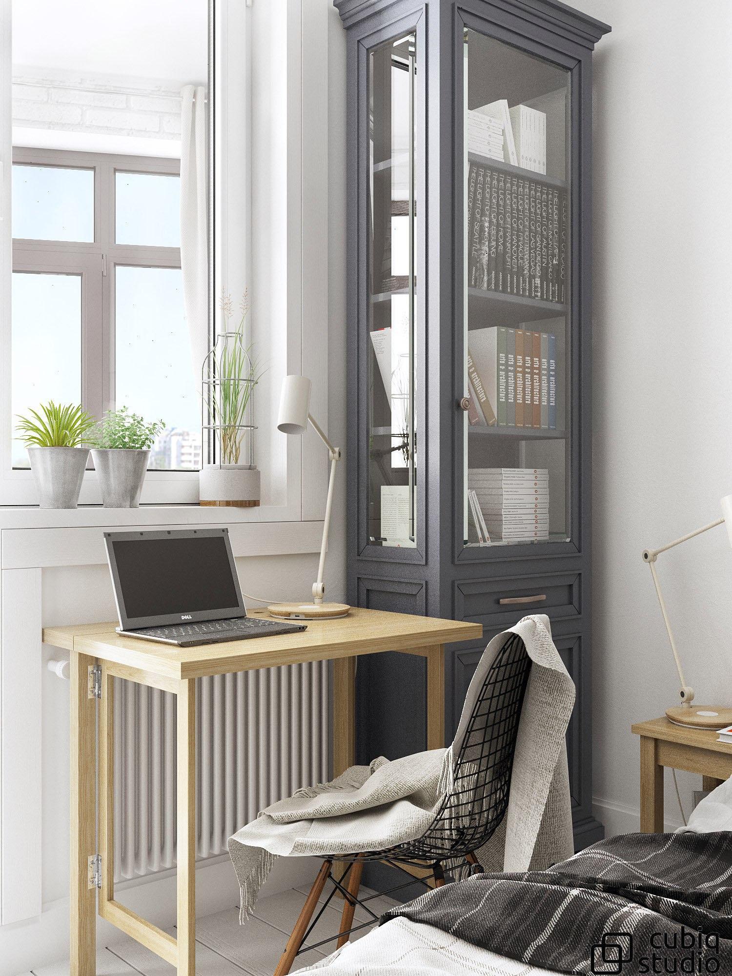 Квартира-студия в скандинавском стиле 28 кв м (с балконом) для молодой пары.