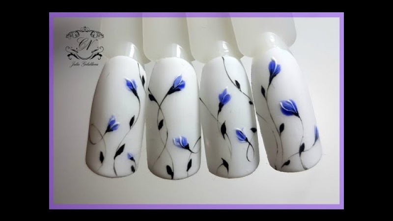 ❤Как я выстригаю все кисти❤Кисть рисует за вас❤Дизайн ногтей Цветочная поляна ❤