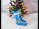 Вязание крючком Рождественский голубой сапожок Часть 3 Christmas boot