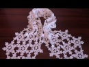 How to crochet scarf VERY EASY Snowflake motif Step by step Tutorial Part 2