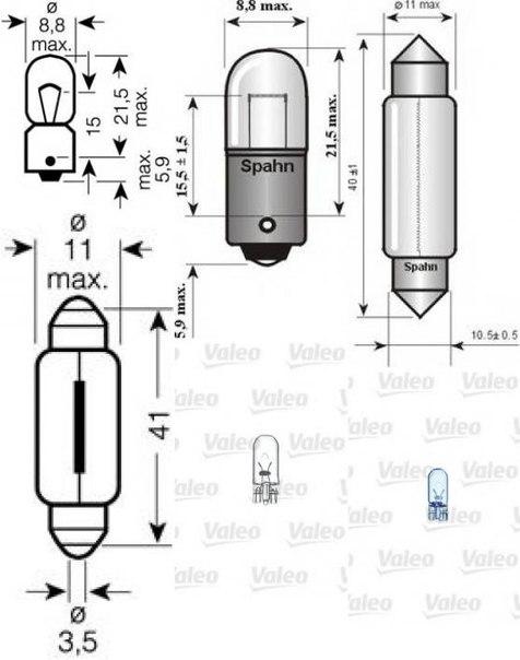 Лампа накаливания, фонарь освещения номерного знака; Лампа накаливания, задний гарабитный огонь; Лампа накаливания, внутренее освещение; Лампа накаливания для AUDI V8 (44_, 4C_)