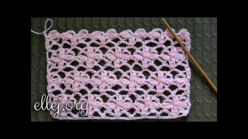 Цветочный узор крючком Нежность. Tender Flower Crochet stitch. Posy Arcade