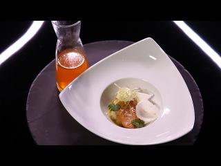 Foie gras poché, bouillon de crevettes grises et navets par Stéphanie Le Quellec  (#DPDC)