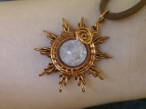 Sun pendant from copper and pink quartz - DIY wire jewelry 215